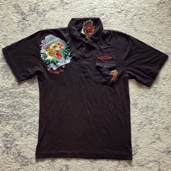 c982b9458e Black Men s Ed Hardy tattoo polo shirt